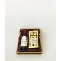Cesta de Mini Vinho Tinto 375ml